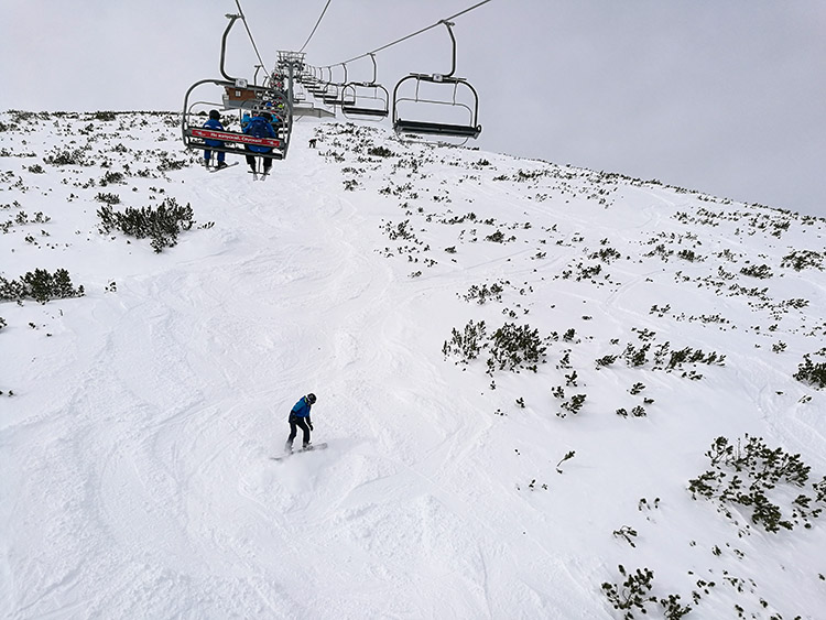 Even days after a powder day, skiing under the MArkudjik 2 lift is fun for the more advanced skiers looking for a challenge.