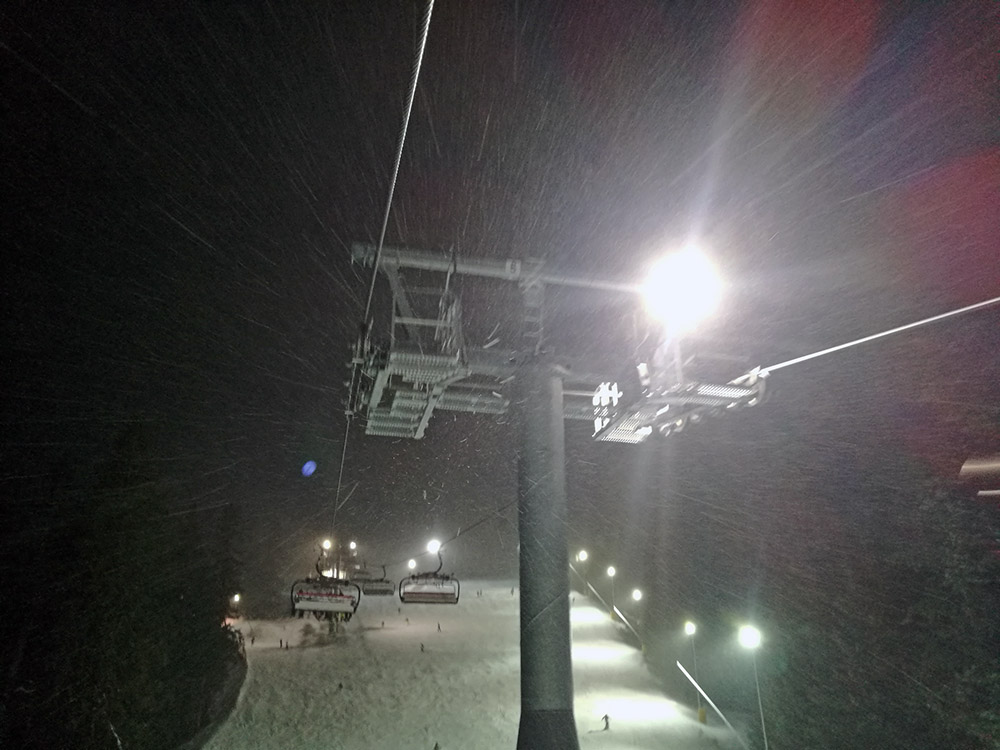 We did get some small snowfall during the night session.